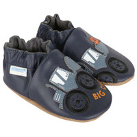 Boys bay shoes in navy leather featuring diggers.  Soft soles for babies, infants and toddlers.