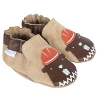Boys bay shoes in taupe suede with beaver appliques.