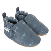 Boys baby shoes in blue leather with dog pattern.