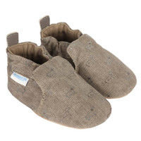 Boys baby, infant and toddler shoes in brown canvas with dog pattern