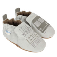 Baby, infant and toddler shoes for boys in grey leather.  Soft Soles featuring a bus.