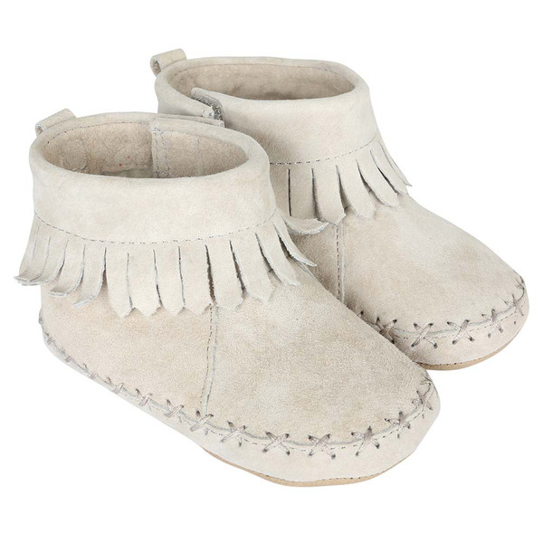 Baby Moccasins in grey suede with fringe. Soft Soles for boys or girls.