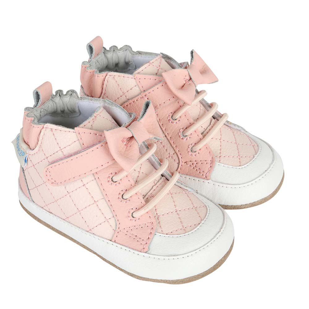 Leather shoes for baby, infant and toddler girls.  Look like athletic shoes in pink and white leather. Soft soles with rubber out soles.