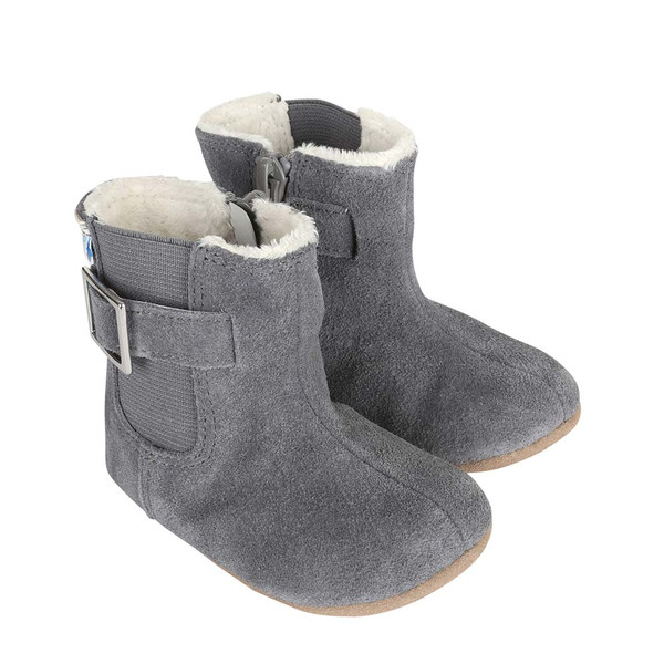 Girls Baby Boots in grey suede. Baby, Infant and Toddler shoes for ages 0 - 24 months.