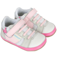 Girls' Baby Shoes in white and pink leather.  Look like athletic shoes.