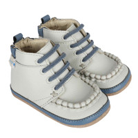 Boys baby boots for infants and toddlers.  Grey leather Mini Shoez.