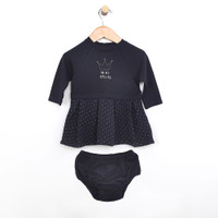 Dress for baby girls in navy quilted cotton with diaper cover