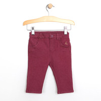 Baby Jeans for girls in maroon cotton.