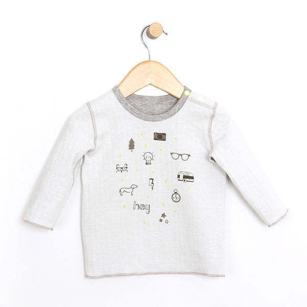 Reversible baby shirt  for boys and girls.  Gray and heather gray.