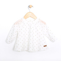 Cotton Top for baby girls. White woven shirt for infants and toddlers.