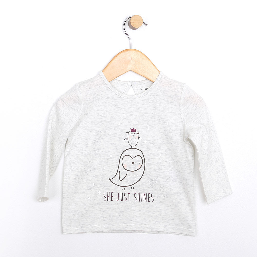 Girls long sleeve baby shirt in heather grey cotton with a bird graphic.