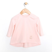 Pink cotton top for baby girls.  This baby shirt is slightly higher in the front than the back.