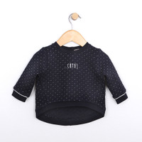 Baby girls shirt in quilted navy cotton.
