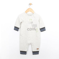 Quilted grey one piece coverall for babies.