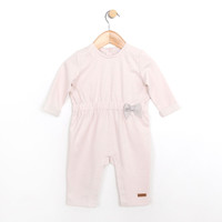 Long sleeve coverall for baby girls.  Pink cotton one piece for baby, infant and toddler girls.