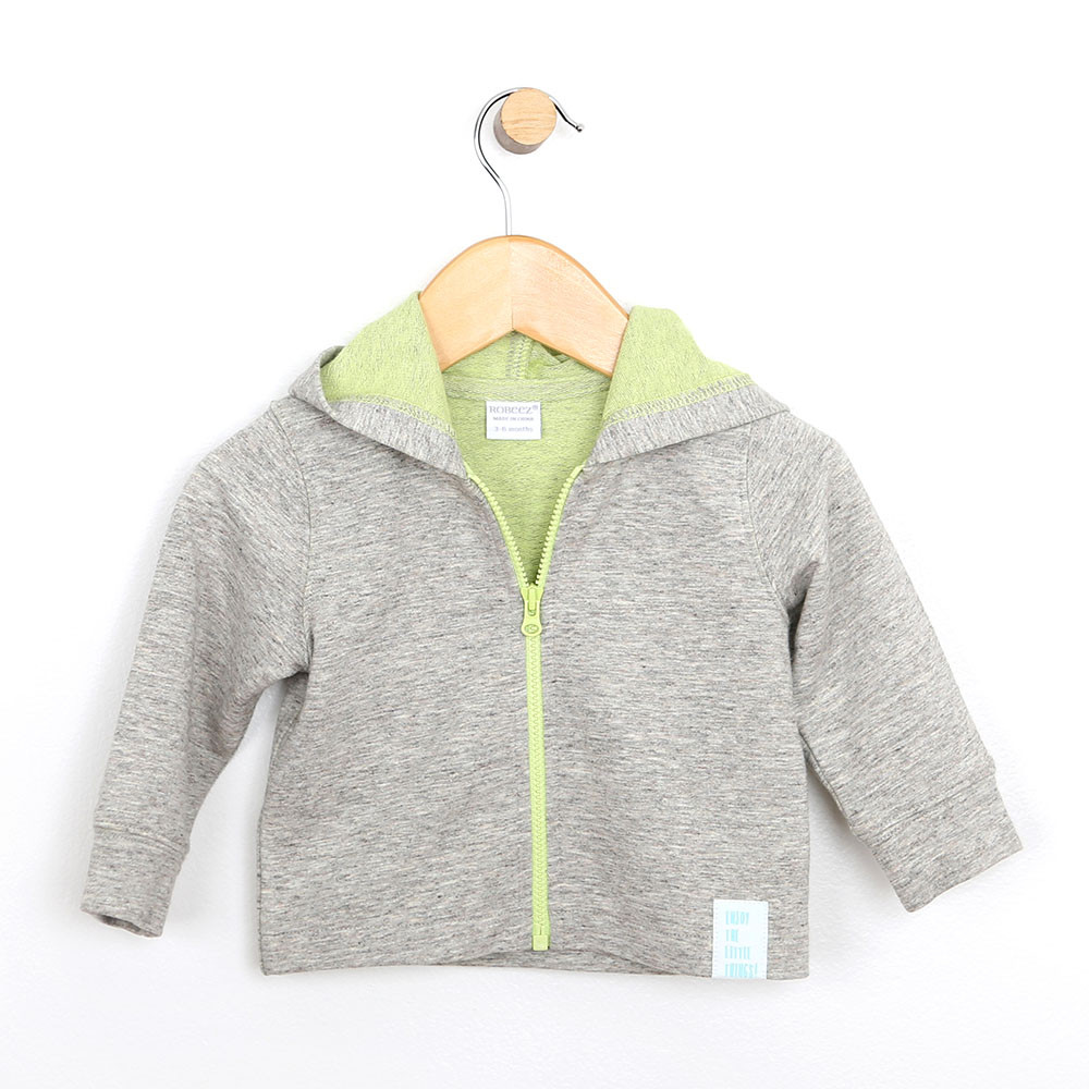 Baby jacket in french terry. Brown heather with green accents.