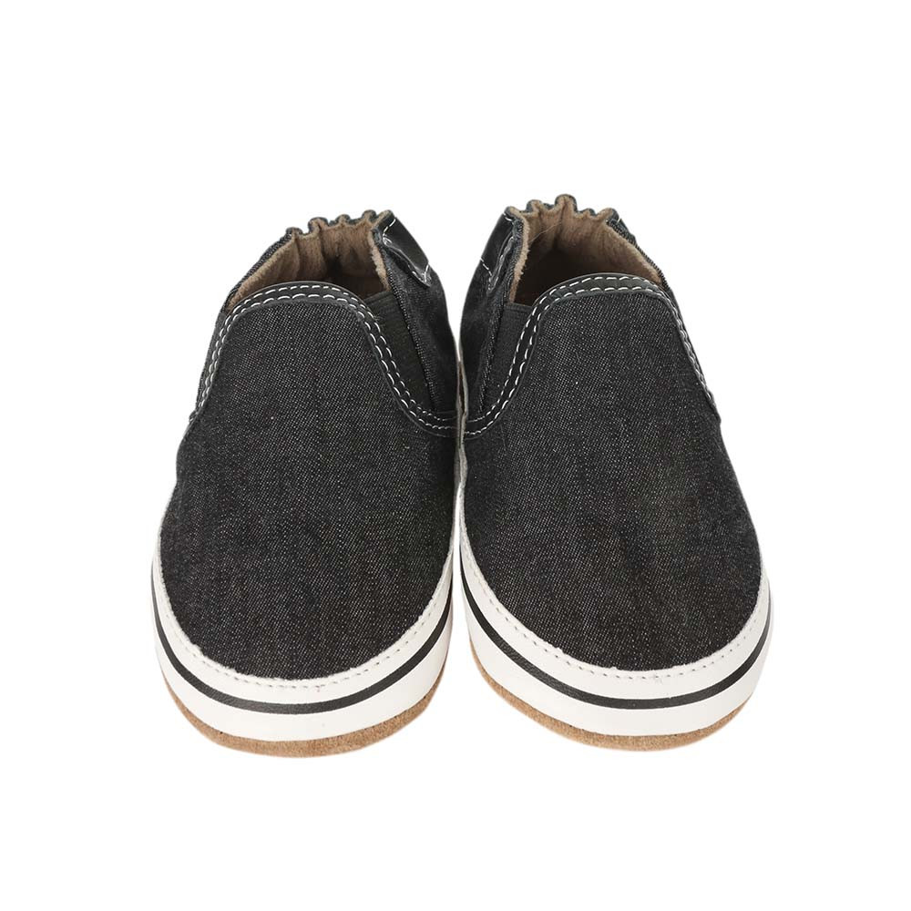 Front view of Liam Basic Baby Shoes, Black, a black canvas crib shoe for infant, baby and toddler boys and girls.
