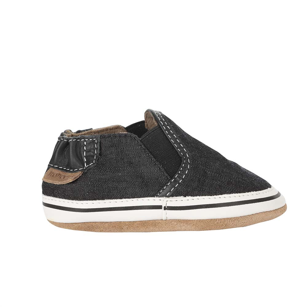 Single side view of Liam Basic Baby Shoes, Black, a black canvas crib shoe for infant, baby and toddler boys and girls.