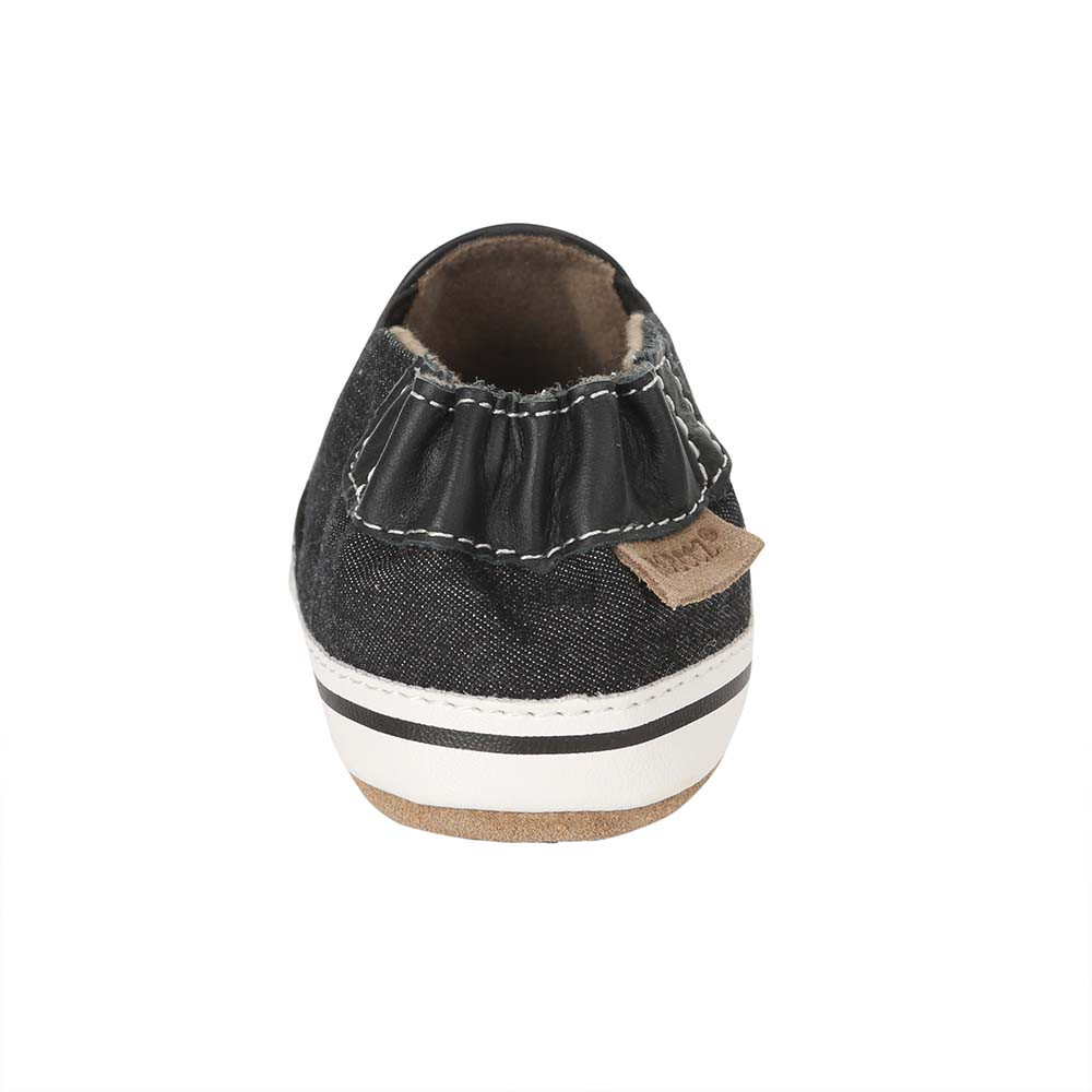 Back view of Liam Basic Baby Shoes, Black, a black canvas crib shoe for infant, baby and toddler boys and girls.