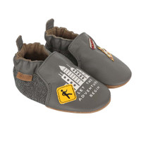 Side View of City Life Baby Shoes, a grey leather crib shoe featuring city icons.  For boys ages 0 - 24 months.