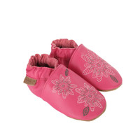 Side view of Fiona Flower Baby Shoes, a pink leather crib shoe embroidered with flowers.