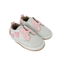 Side view of Heartbreaker Baby Shoes: soft soled crib shoes for girls ages 0 -2 4 months in grey leather.