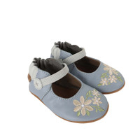 Side view of Pretty in Blue Baby Shoes: Soft soled crib shoes in blue leather with white embroidery.