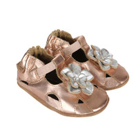 Side Pretty Pansy Gold Soft Soles: This gold sandal features a silver flower on it's toe.