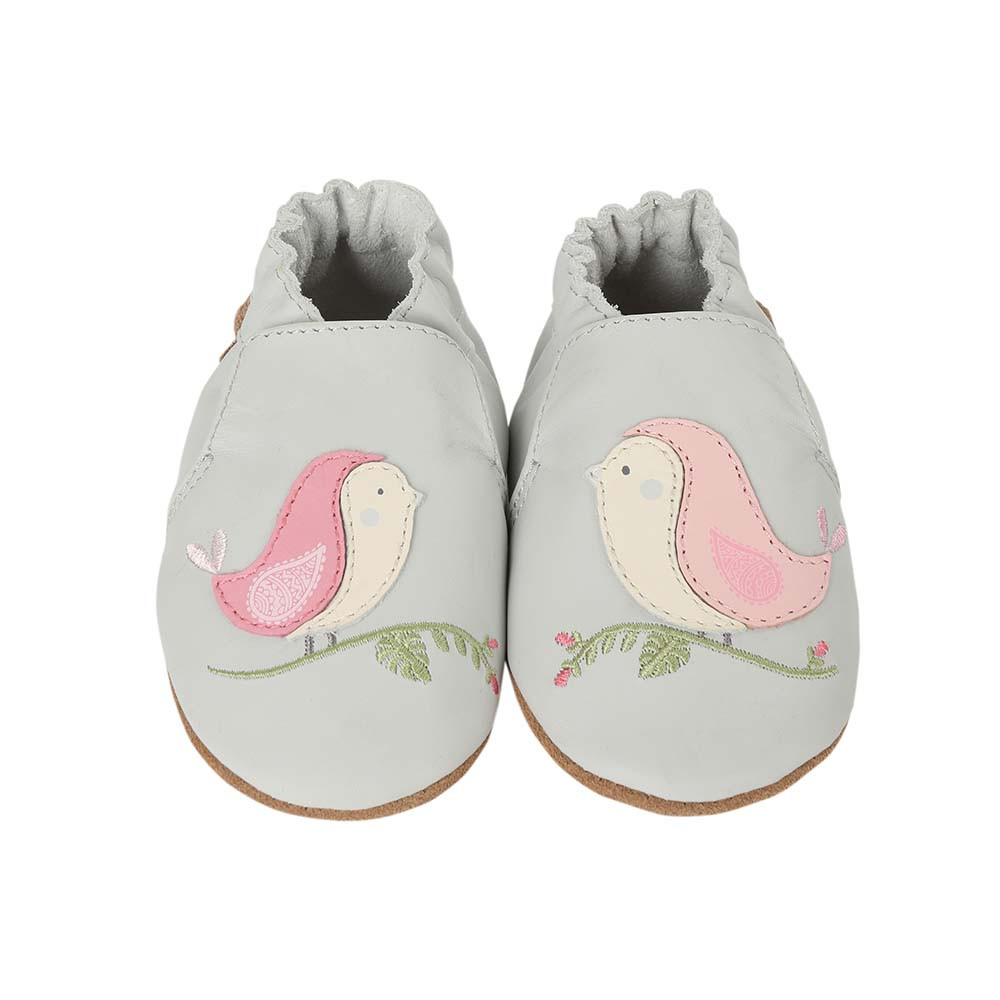 Front view of Bird Buddies.  A grey leather soft soled shoe featuring pink and white birds.  For girls ages 0 - 2 years old.
