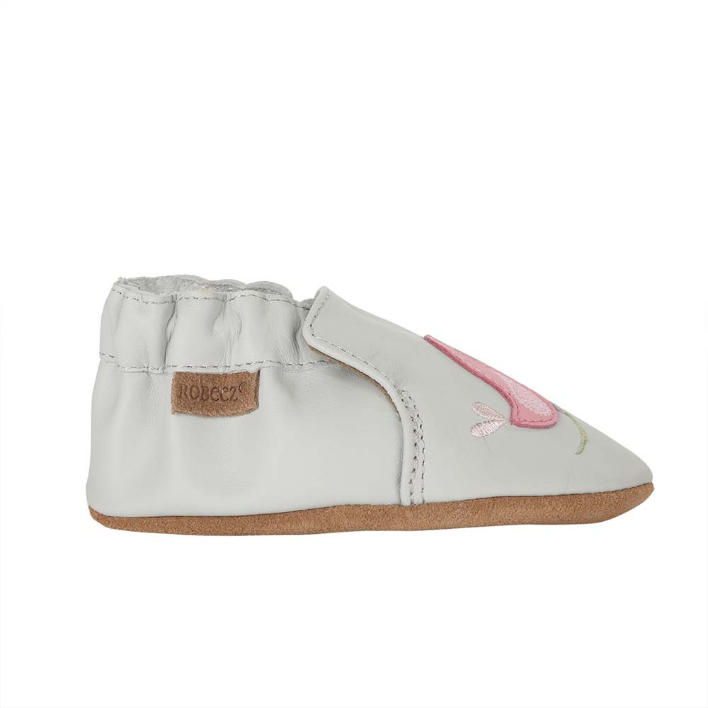 Single side view of Bird Buddies.  A grey leather soft soled shoe featuring pink and white birds.  For girls ages 0 - 2 years old.