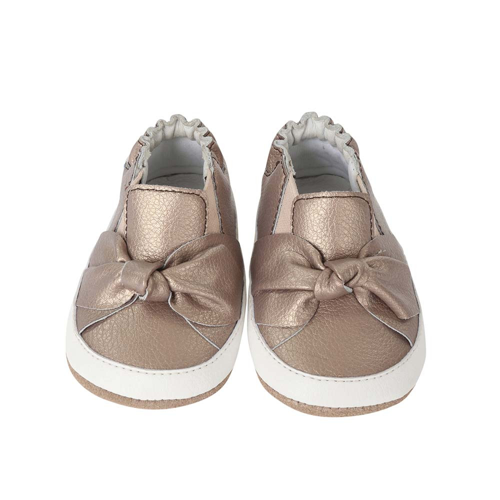Front view of  Bella's Bow baby shoes, children shoes for baby, infant and toddler girls ages 3 - 24 months. Bronze leather shoes with soft soles and rubber outer sole.