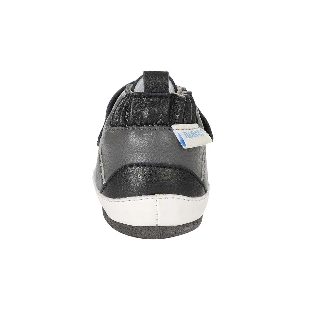 Back view of of Zachary High Top Baby Shoes, a baby shoe inspired by high top athletic sneakers.  Good for boys and girls ages 0 - 24 months.
