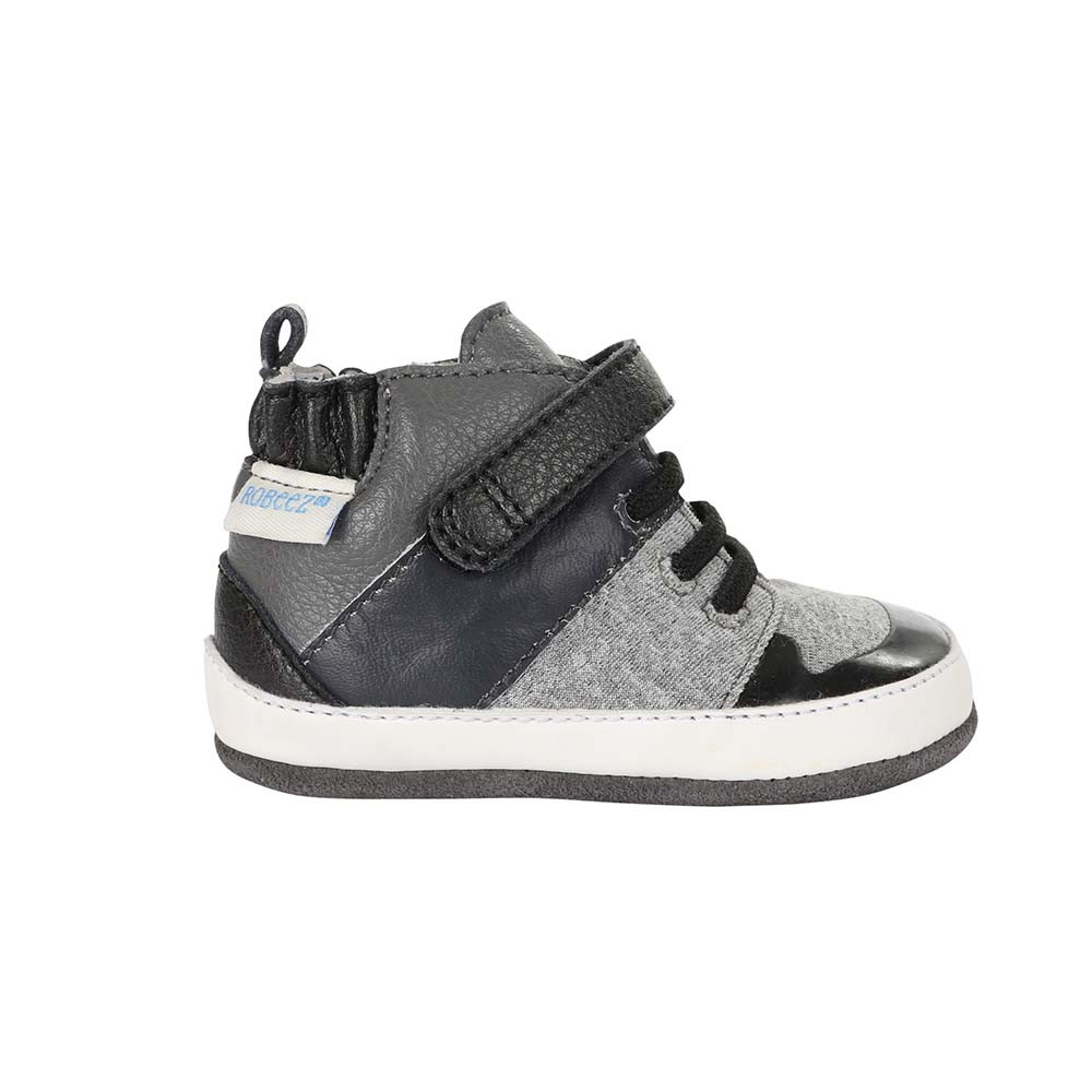 Single side view of Zachary High Top Baby Shoes, a baby shoe inspired by high top athletic sneakers.  Good for boys and girls ages 0 - 24 months.