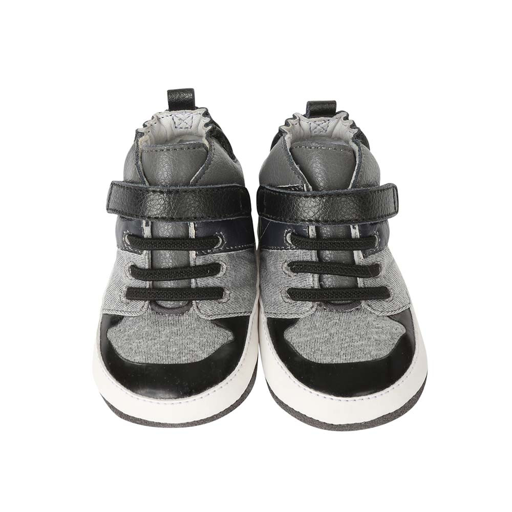 Front view of Zachary High Top Baby Shoes, a baby shoe inspired by high top athletic sneakers.  Good for boys and girls ages 0 - 24 months.