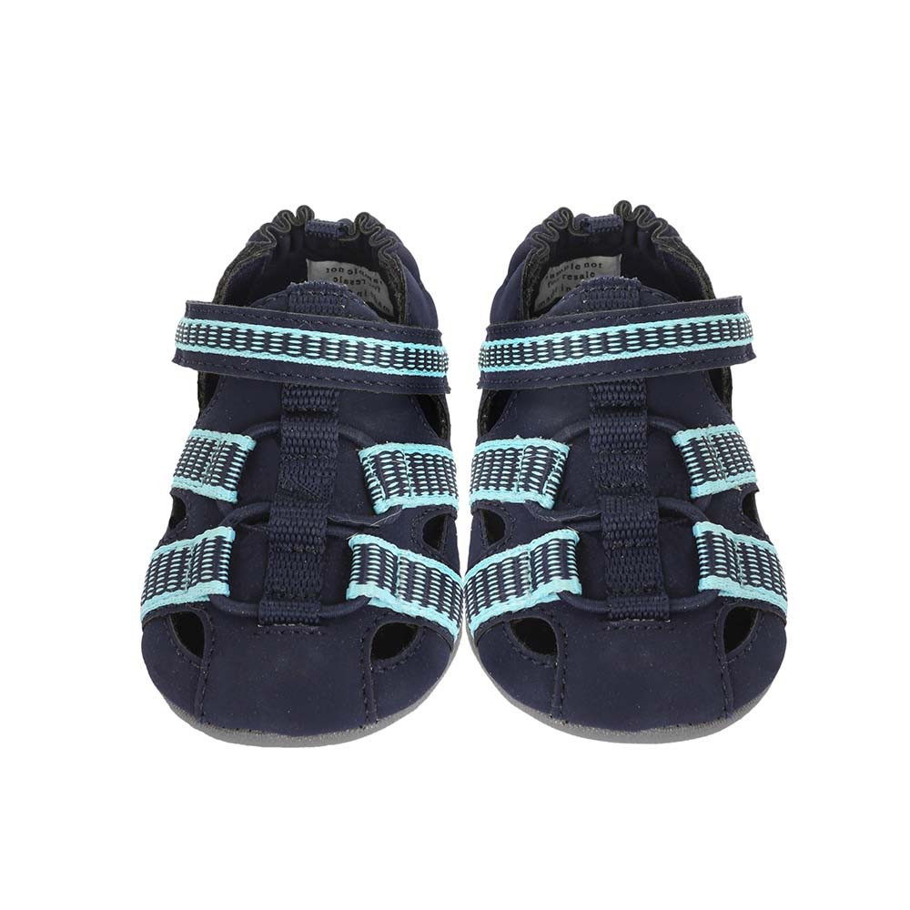Front view of Navy Beach Break Baby Shoe, a baby sandal in PU designed to look like a beach sandal.