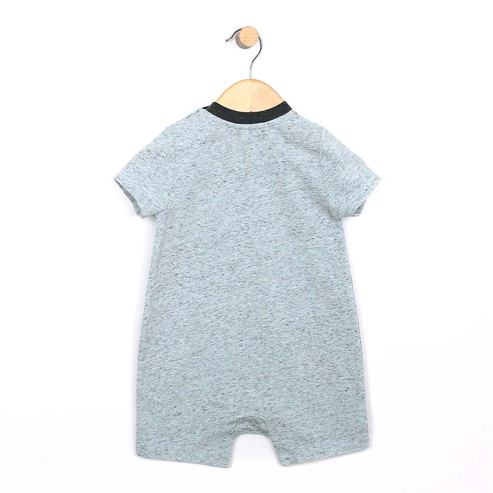 Blue heather cotton romper, with a hot dog applique, for baby and infant boys. Back view.