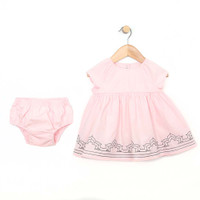 Pink Cotton dress with diaper cover for infant and toddler girls.  Front View.