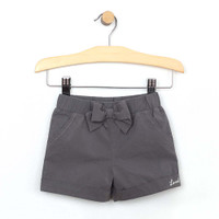 Grey cotton cuffed short with bow for infant and toddler girls. Front view.