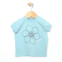 Aqua cotton short sleeve top for baby and toddler girls with floor on front.  Front view.