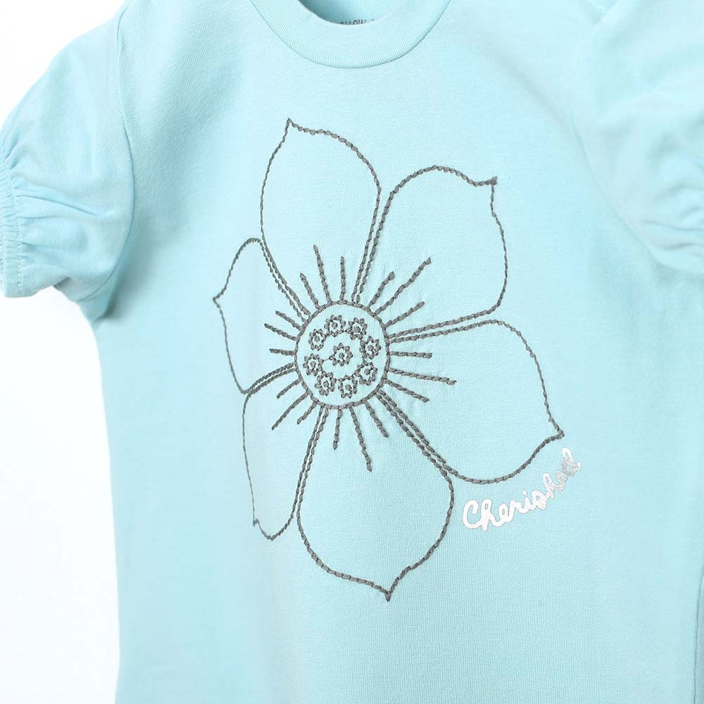 Aqua cotton short sleeve top for baby and toddler girls with floor on front.  Close up.