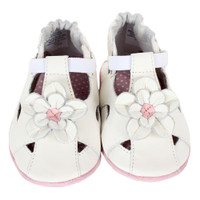 Baby Sandals for girls in white leather.  Soft Soles are good for early and beginner walkers.