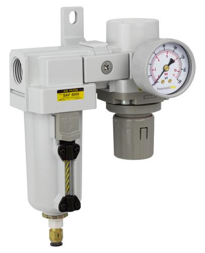 "PneumaticPlus SAU Series Air Filter Regulator Modular Combo 3/4"" NPT  (SAU4020M-N06DG-MEP)"
