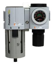 "PneumaticPlus PPC4B-N04G Compressed Air Filter Regulator Modular Combo 1/2"" NPT"