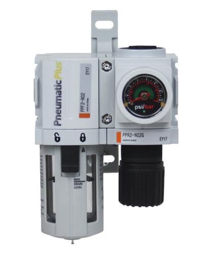 "PneumaticPlus PPC Series Air Filter Regulator 1/4"" NPT (PPC2B-N02G)"
