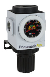 "PneumaticPlus PPR3-N03BG Air Pressure Regulator 3/8"" NPT with Embedded Gauge & Bracket"