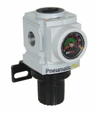 "PneumaticPlus PPR3-N2BG Air Pressure Regulator 1/4"" NPT with Embedded Gauge & Bracket"
