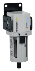 "PneumaticPlus PPF3-N02B Particulate Air Filter 1/4"" NPT, Poly Bowl, Manual Drain with Bracket"