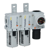 """PneumaticPlus PPC2C-N02G 3 Stage Air Drying System 1/4"""" NPT, Poly Bowl, Manual Drain, Embedded Gauge"""