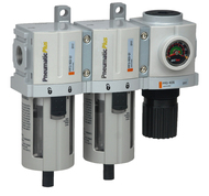 """PneumaticPlus PPC3C-N02G 3 Stage Air Drying System 1/4"""" NPT (High Flow), Poly Bowl, Manual Drain, Embedded Gauge"""