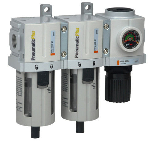 """PneumaticPlus PPC3C-N03G 3 Stage Air Drying System 3/8"""" NPT, Poly Bowl, Manual Drain, Embedded Gauge"""